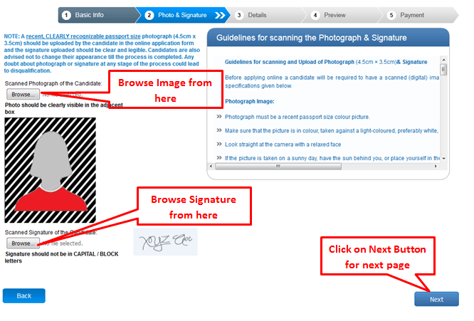Uploading Photo and Sign - IBPS
