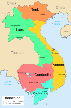 Map of Indo-China included Vietnam, Laos and Cambodia.