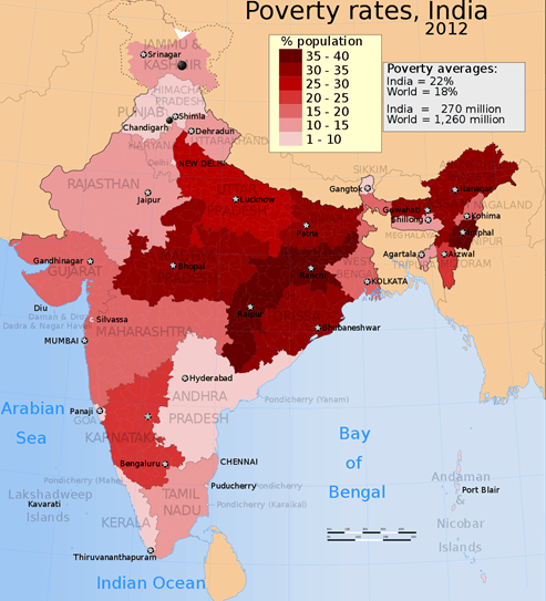 Map poverty rates In India 2012