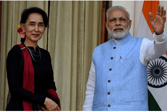 Foreign Minister Aung San Suu Kyi and PM Narendra Modi