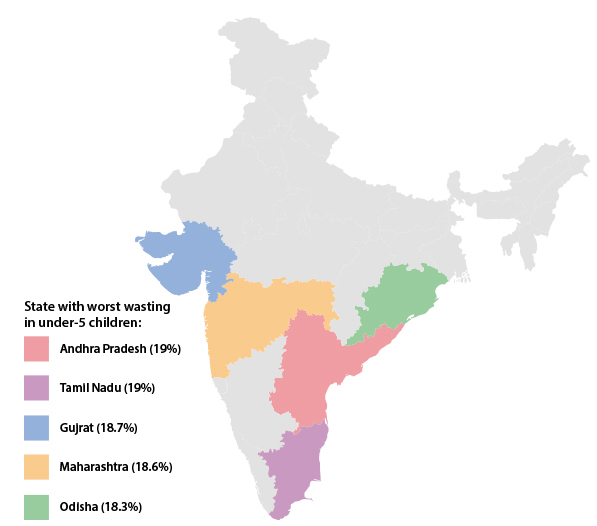 Map of Malnutrition in India
