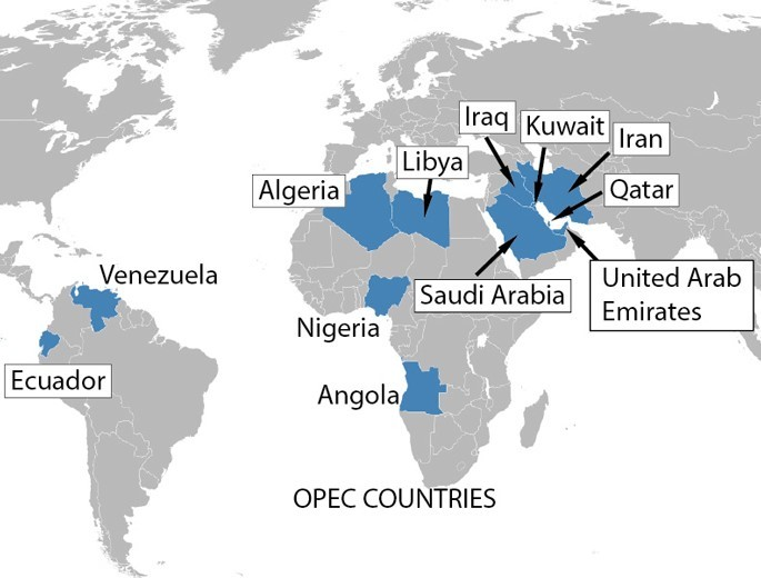 Location of OPEC Members
