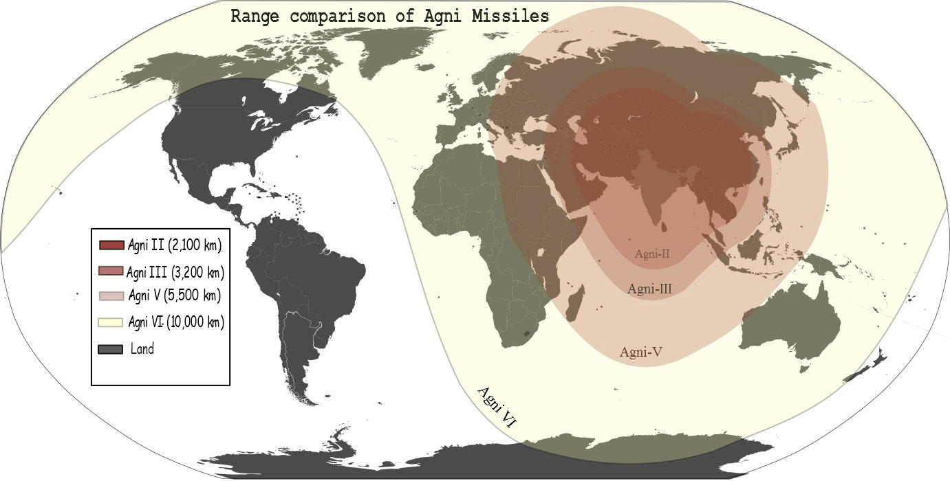 Image of Agni Missile Range comparison