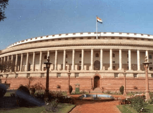 Image shows the Lok Sabha of the India