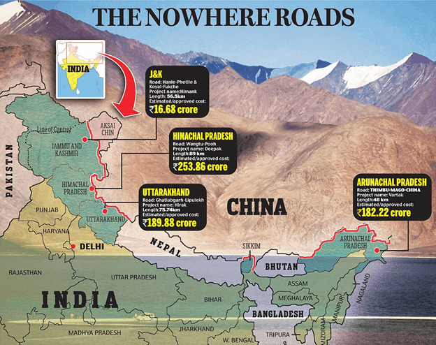Image of Border Roads In India Map