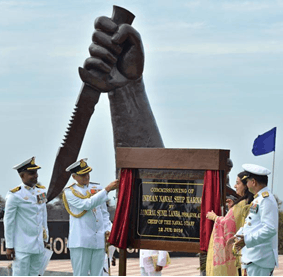 Image shows the commissioning of INS Karna