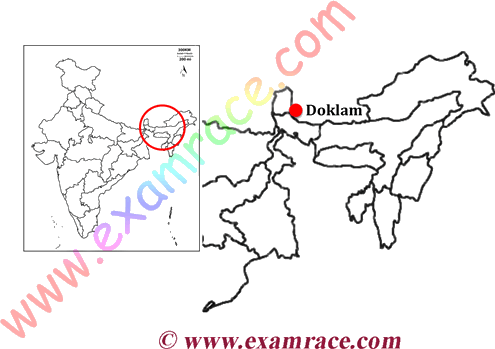 Image shows the Location of Doklam
