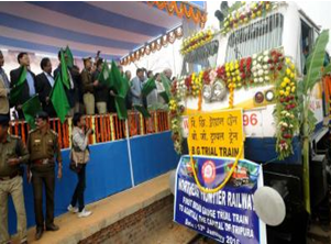 Union Railway Ministry has flagged off the broad gauge train