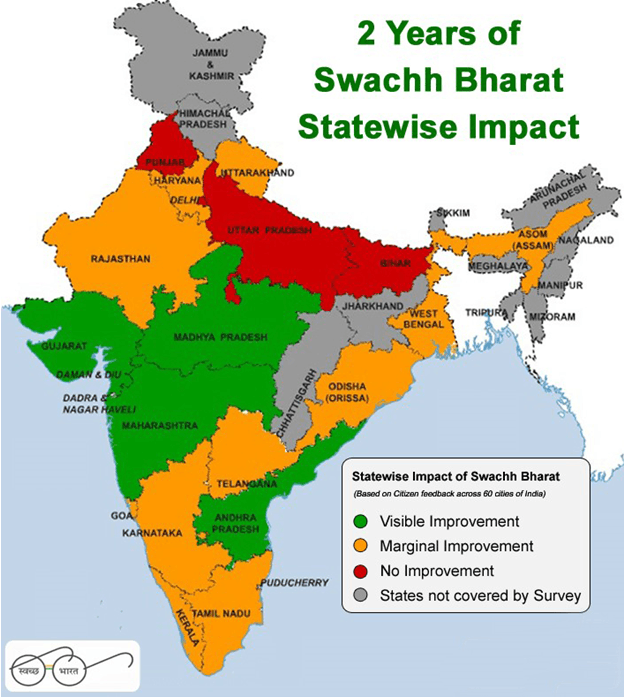 Map of 2 Years of Swachh Bharat Statewise Impact