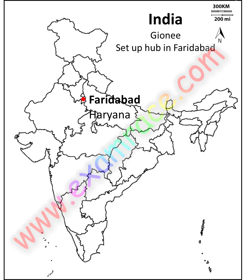 Location of Gionee hub in Faridabad