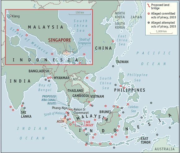 Map of Straits of Singapore and Malacca