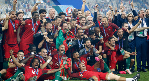 Image shows the European football championship team
