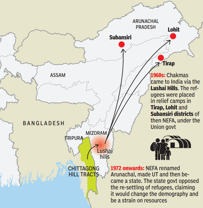 Map of Chakma and Hajong Refugees