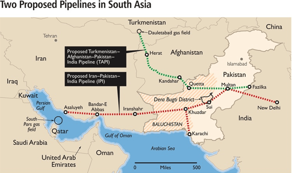 Image of Two Proposed Pipelines In South Asia