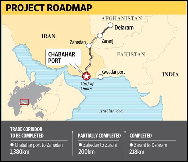Map of Map of Zaranj-Delaram road, Chabahar Port, Gwadar port