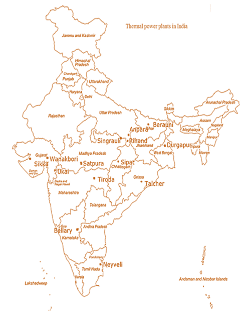 Image of map of Thermal Power Plants in India