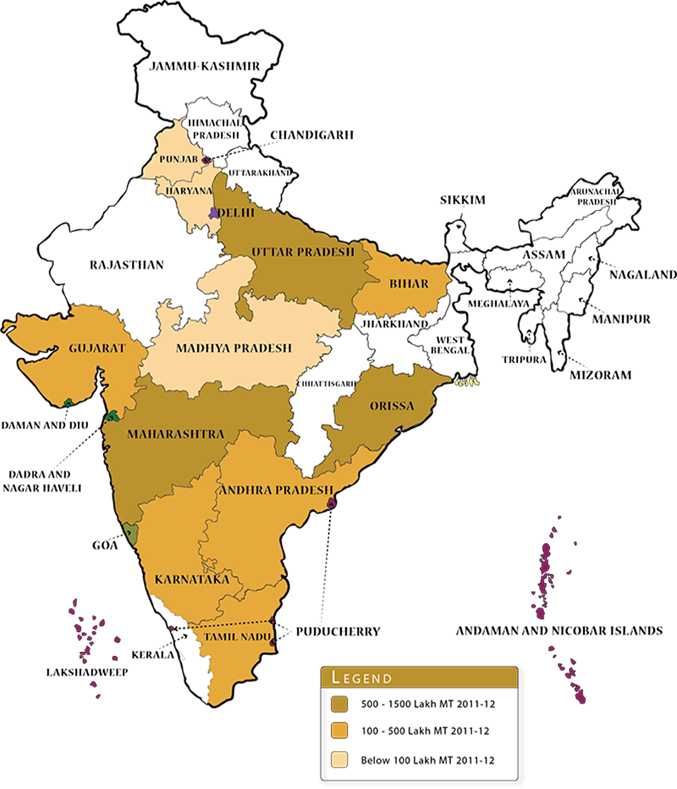 Map of Production of Sugarcane In Various State