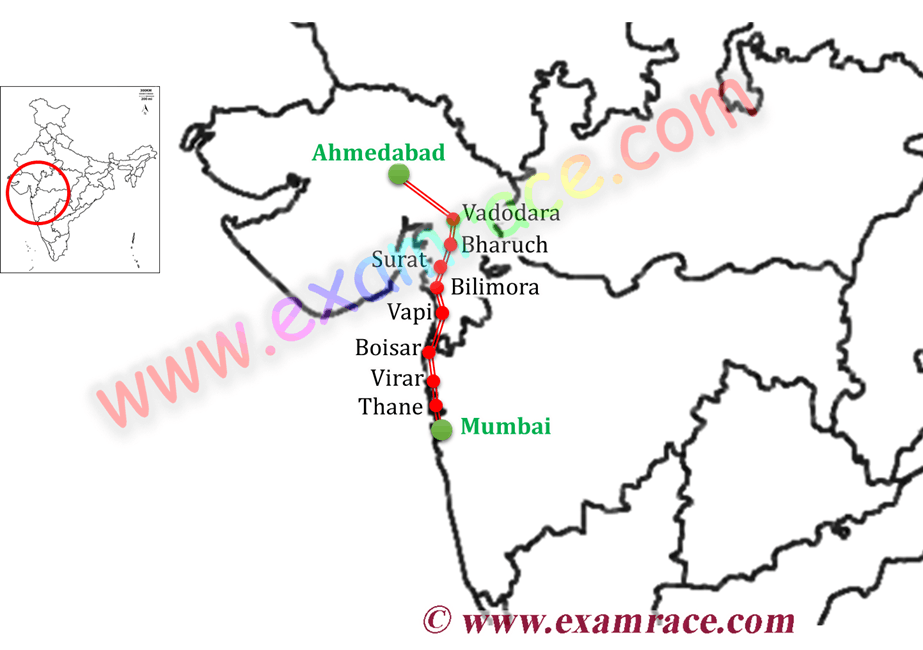 Map of India's first High Speed Rail Project