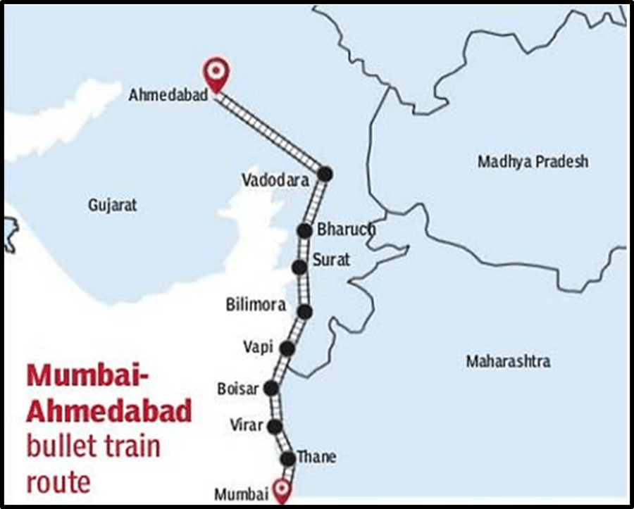 Map of Mumbai Ahmedabad High Speed Rail Project