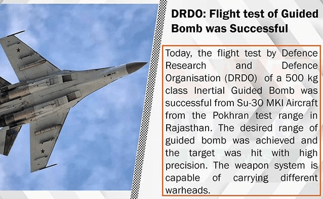 This image show in DRDO:Flight test of guides bomb