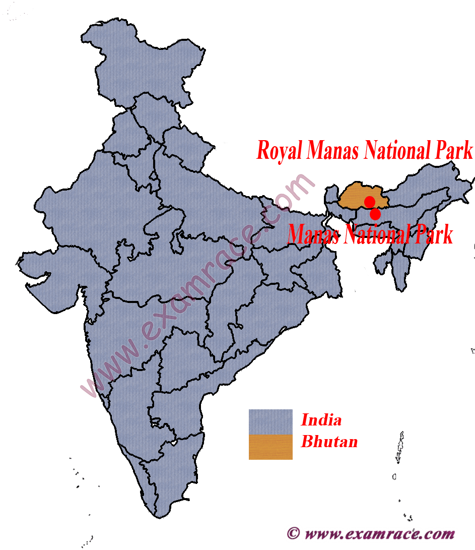 Location of Royal Manas National Park and Manas National Park