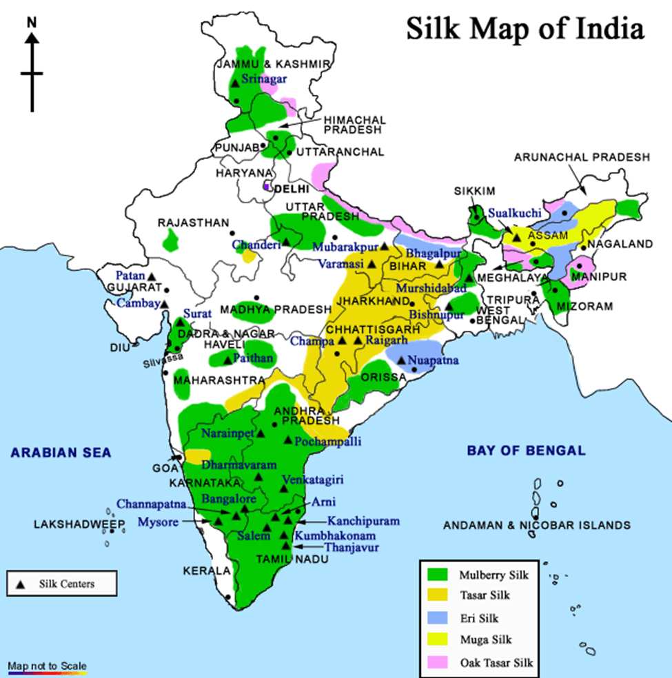 Map of Silk Centers In India