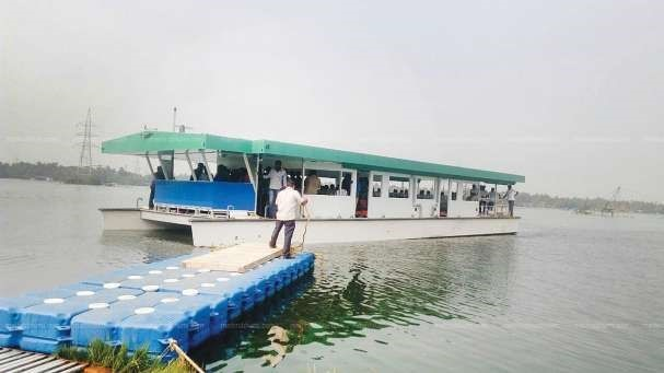 Trial run of India's first solar-powered passenger boat-Adithya