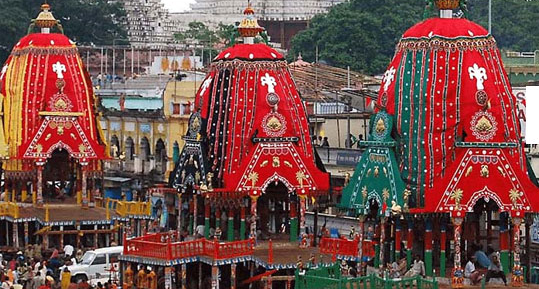 Image shows the famous Rath Yatra of Lord Jagannath