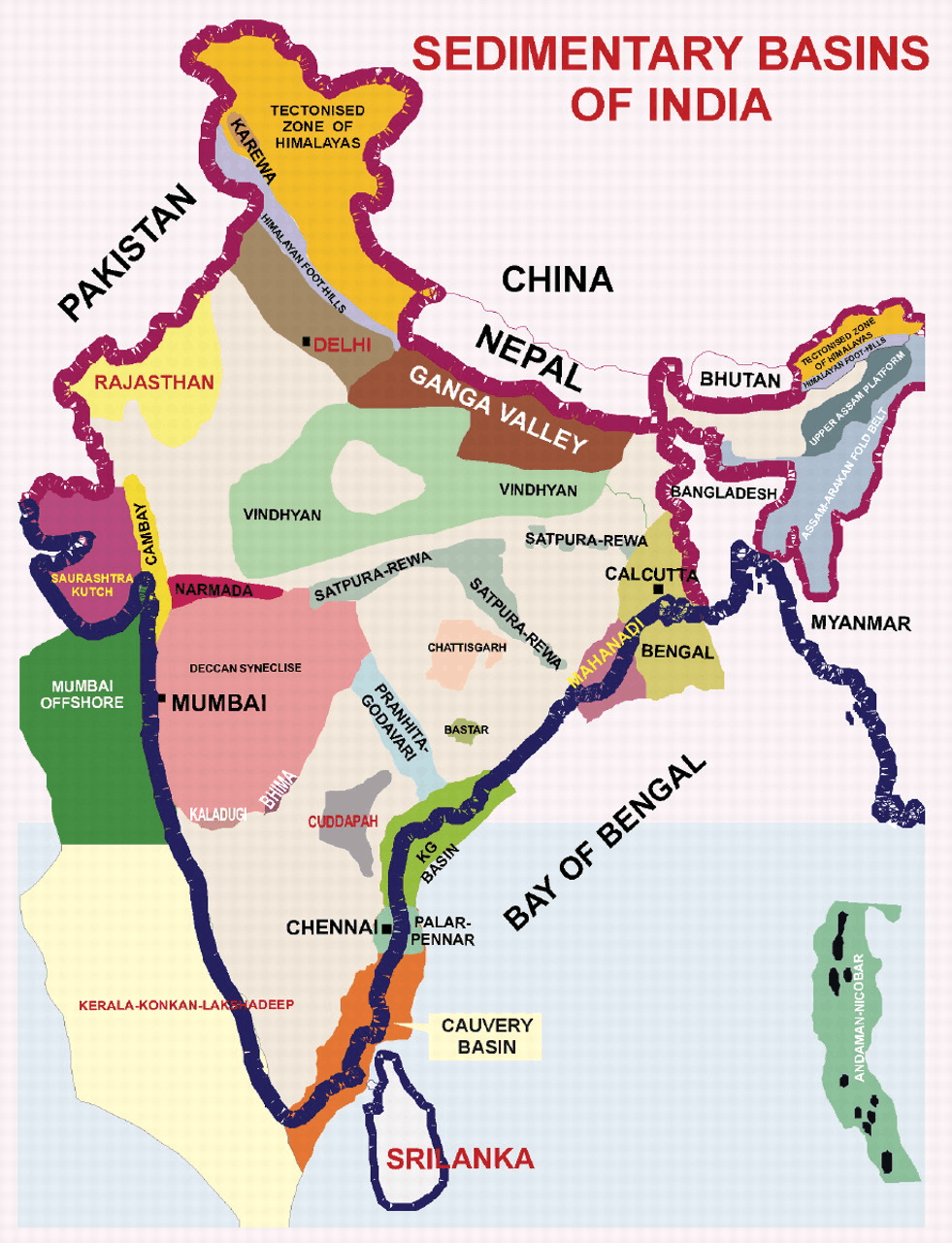 Map of Sedimentary Basins of India