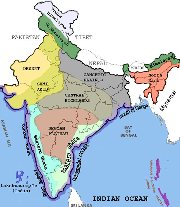 Map of Eastern ghats and western ghats