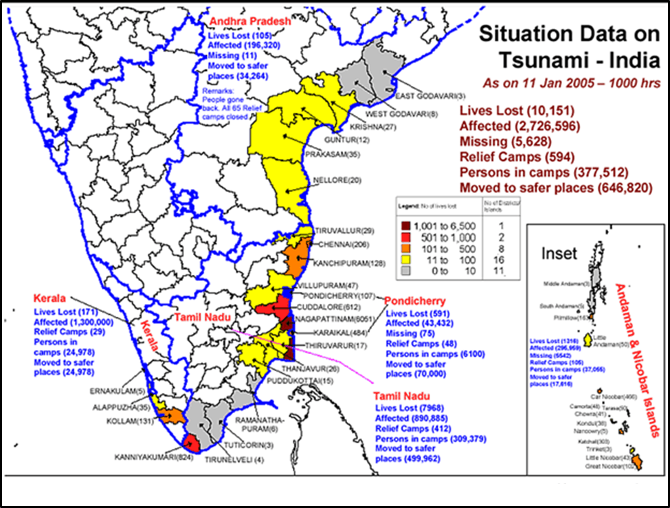 Map of Situation Data on Tsunami - India