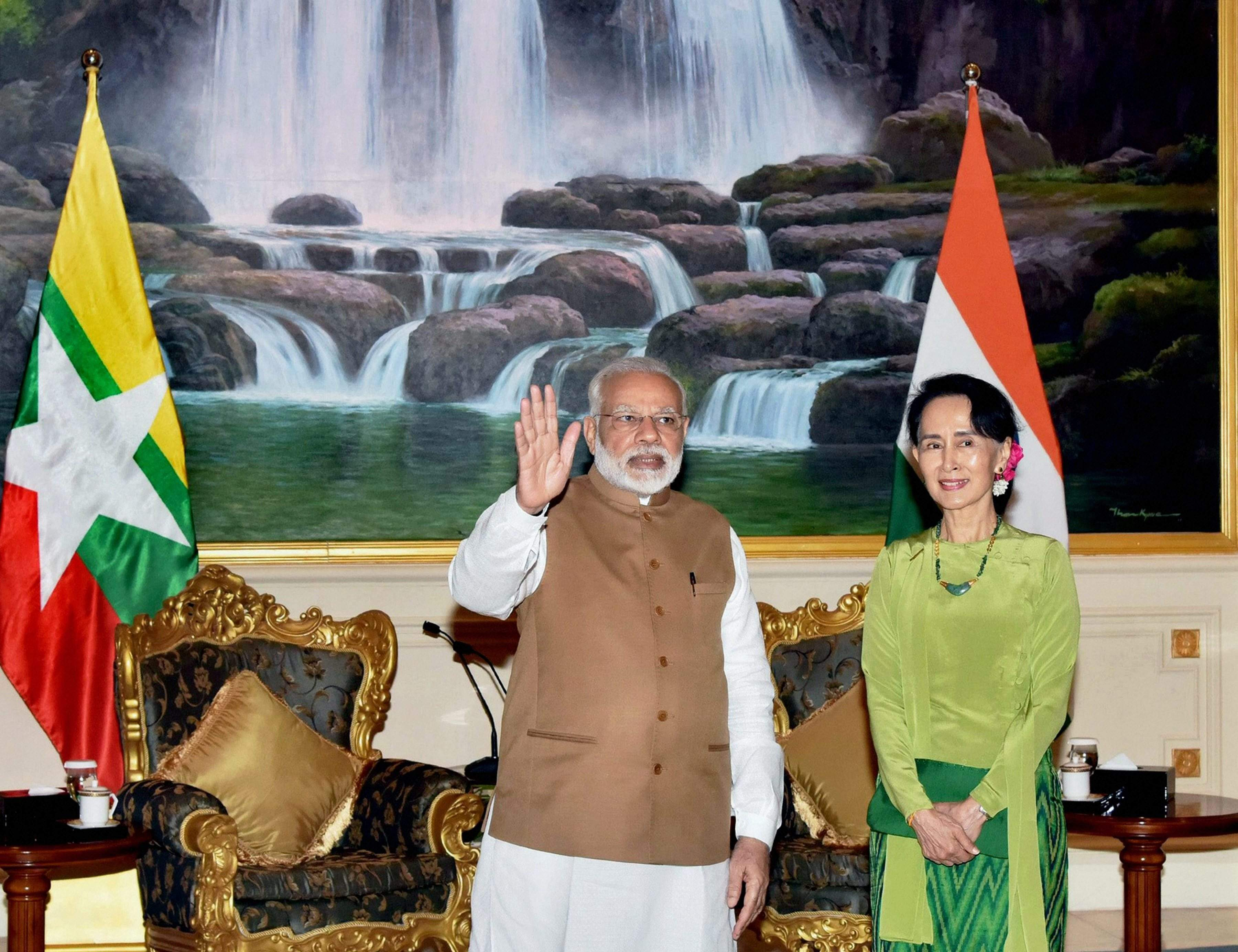 Image of PM Narendra Modi With The State Counsellor of Myanmar