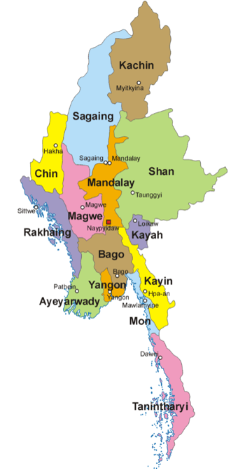 Map of 7 States of Myanmar