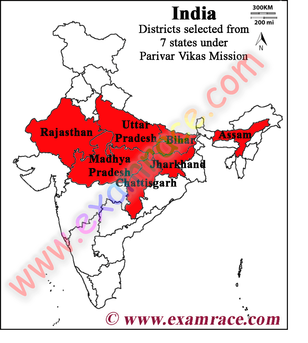 Location of Parivar Vikas Mission districts