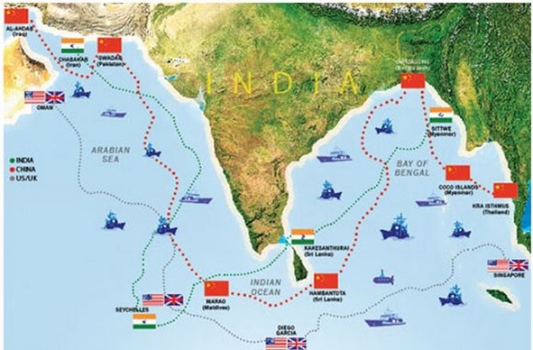 Map of Underwater Surveillance Networks in Indian Ocean