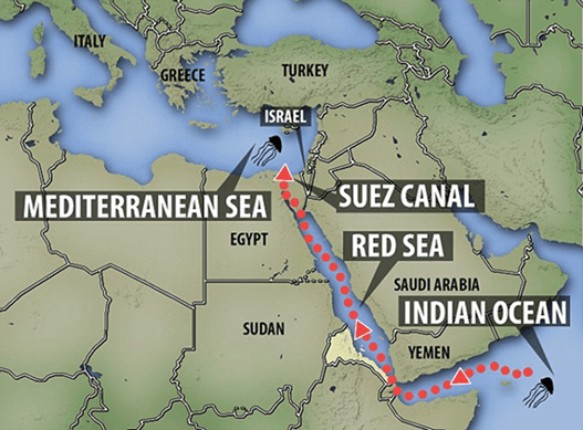 Image of Suez canal and indian ocean