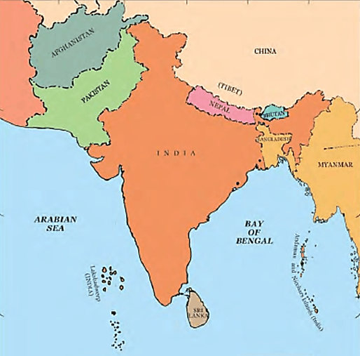 Image of India Map of Nearest Country of India