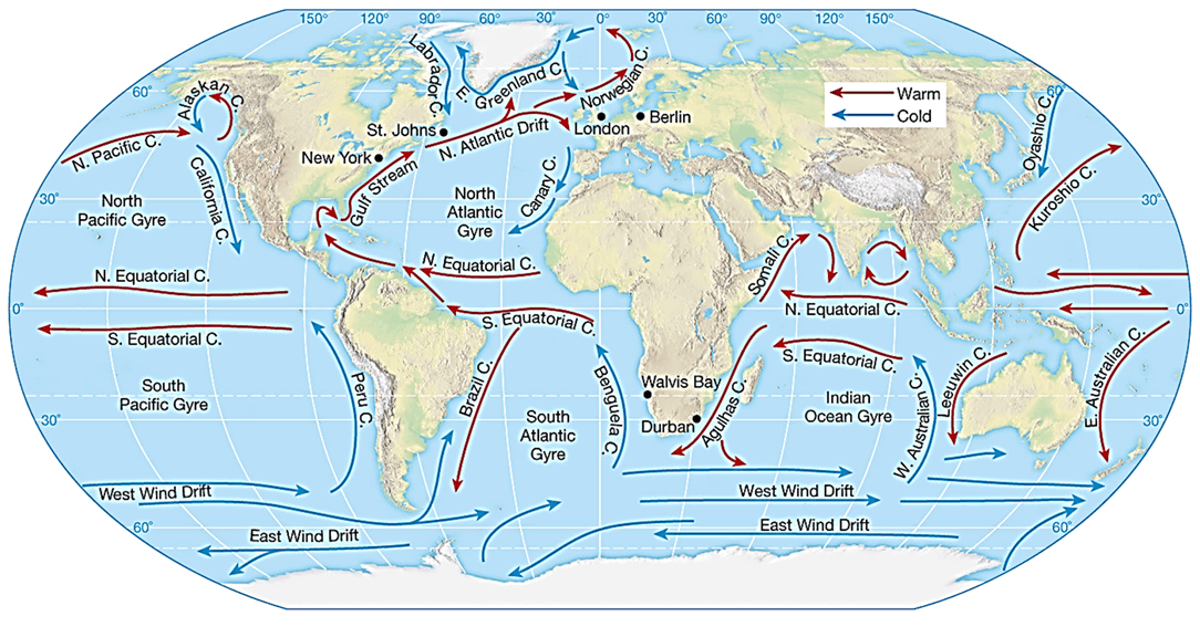 Image of World Map Ocean Currents
