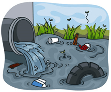 Image result for industrial waste discharged into a river clipart