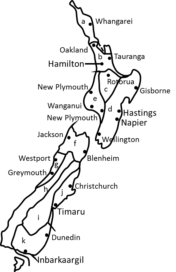 Map of Geographical Region of Newzealand