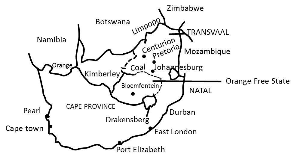 description map of south africa