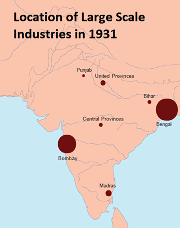 Map of Location of Large Scale Indudtries In 1931