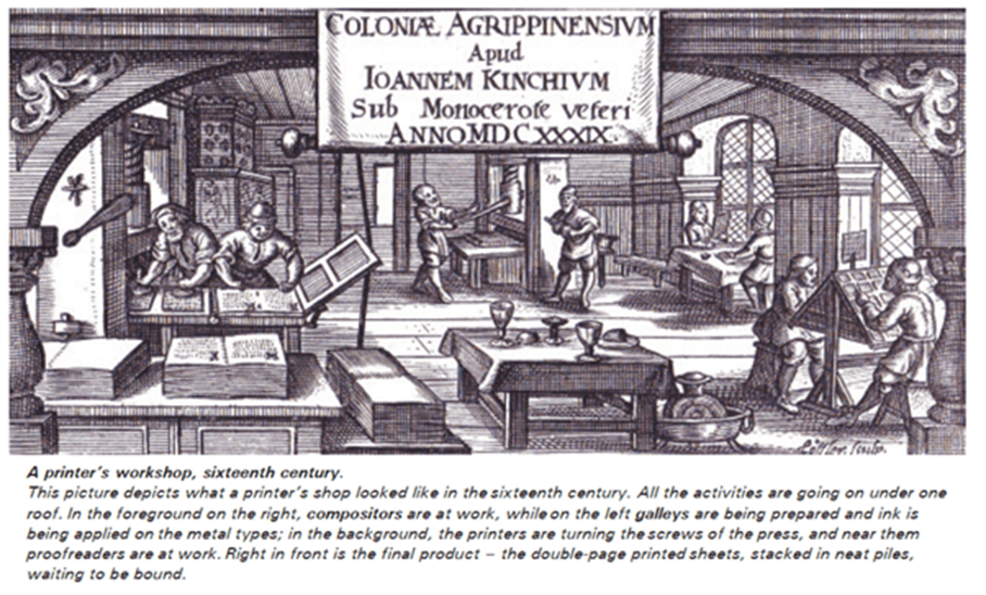 Image of a printer's workshop 16th century
