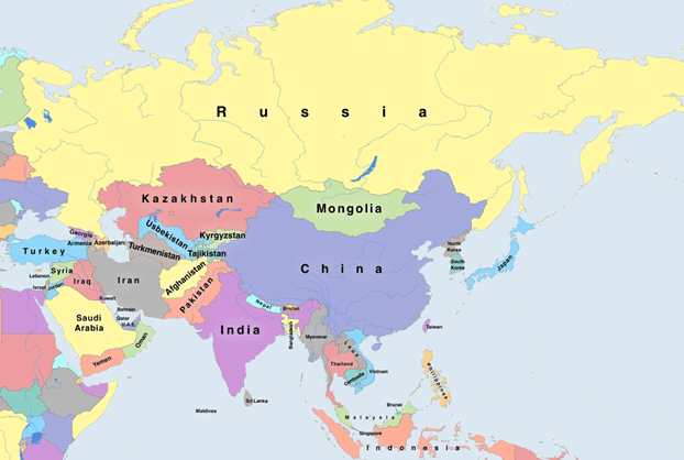 Russia, mongolia,China, Kazakhstan, India, Pakistan, Turkey, …