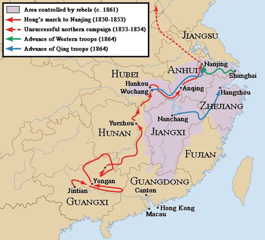 Image of Map of China Taiping Rebellion