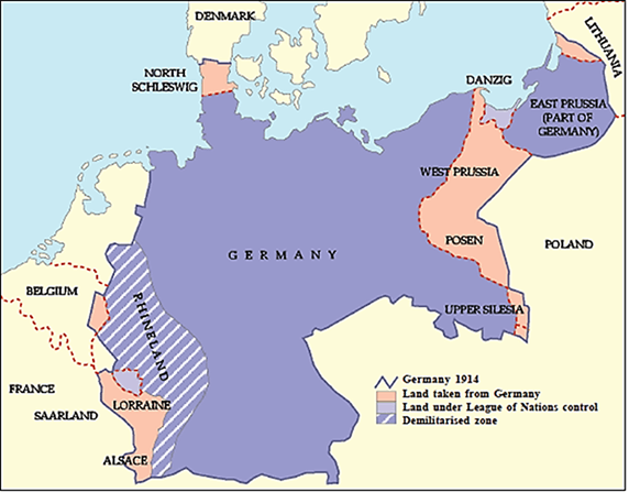 Map of 1st world war – Germany and Austria versus England, France and Russia