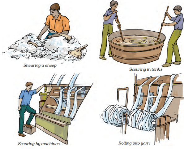 Image of processing fibre to wool