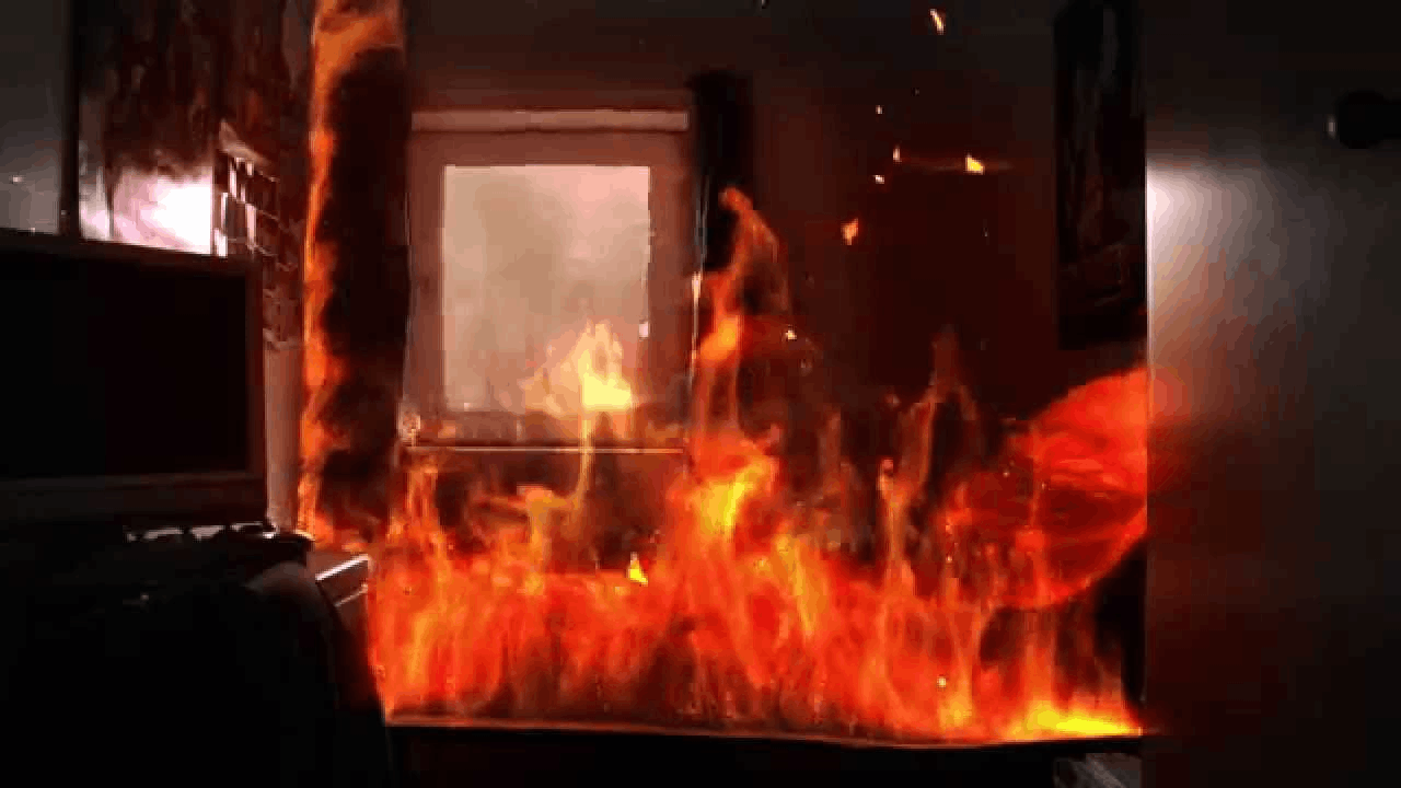 Image of room on fire