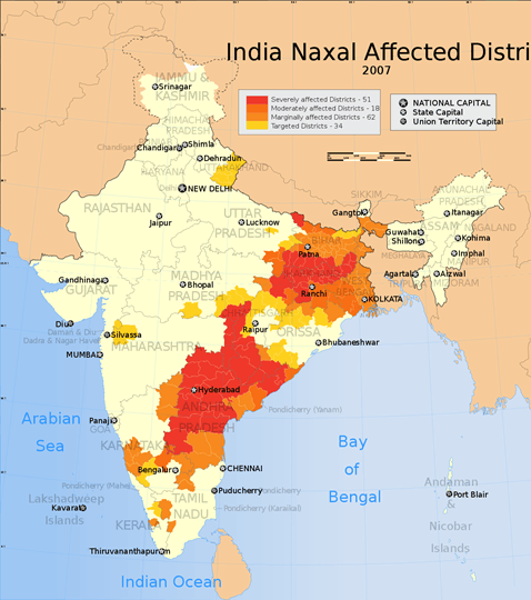 Map of Naxal-affected areas in India