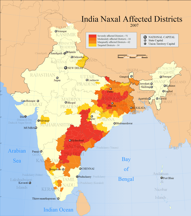 Naxal-affected areas in India